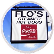 Flo's Steamed Hot Dogs Round Beach Towel