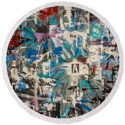 Flower Abstract Round Beach Towel