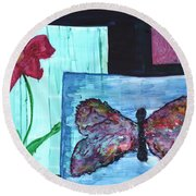 Flower And Butterfly Round Beach Towel