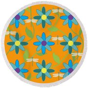 Flower And Dragonfly Design With Orange Background Round Beach Towel