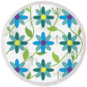 Flower And Dragonfly Design With White Background Round Beach Towel