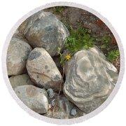 Flower And Rocks Round Beach Towel