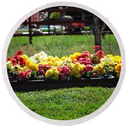 Flower Bed Round Beach Towel by Holly Blunkall