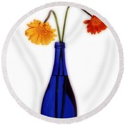 Flower Blues Round Beach Towel