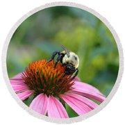 Flower Bumble Bee Round Beach Towel