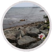 Flower By The Sea Round Beach Towel