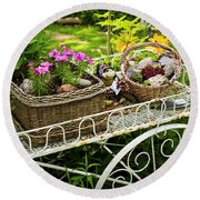 Flower Cart In Garden Round Beach Towel