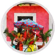 Flower Cart San Juan Puerto Rico Round Beach Towel