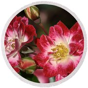 Flower-cream-pink-red-rose Round Beach Towel