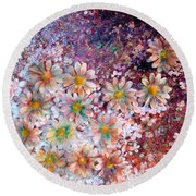 Flower Fantasy Round Beach Towel