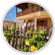 Flower Fence For A Beach Loft In Jeri Round Beach Towel