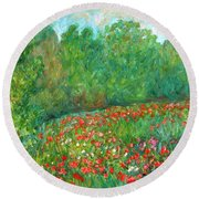 Flower Field Round Beach Towel