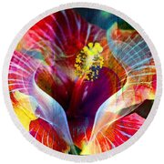 Flower Fire Power Round Beach Towel