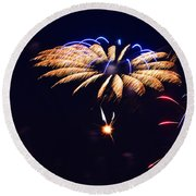 Flower Fireworks Round Beach Towel