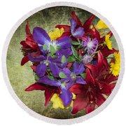 Flower - Garden Joy - Luther Fine Art Round Beach Towel