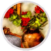 Flower - Geraniums On A Table  Round Beach Towel by Mike Savad