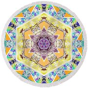 Flower Goddess Round Beach Towel