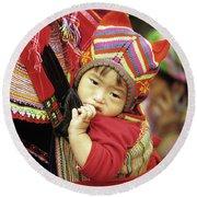 Flower Hmong Baby 01 Round Beach Towel