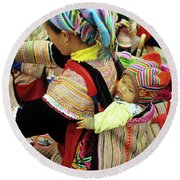 Flower Hmong Baby 03 Round Beach Towel