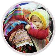 Flower Hmong Baby 04 Round Beach Towel