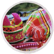 Flower Hmong Baby 05 Round Beach Towel