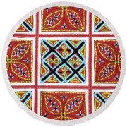 Flower Hmong Embroidery 01 Round Beach Towel