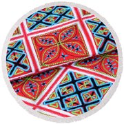 Flower Hmong Embroidery 02 Round Beach Towel