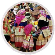Flower Hmong Girl 01 Round Beach Towel