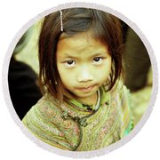 Flower Hmong Girl 02 Round Beach Towel