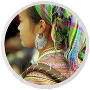 Flower Hmong Woman Round Beach Towel