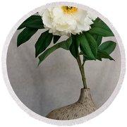 Flower In Vase Round Beach Towel