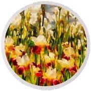 Flower - Iris - Mildred Presby 1923 Round Beach Towel by Mike Savad