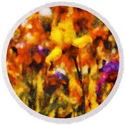 Flower - Iris - Orchestra Round Beach Towel by Mike Savad