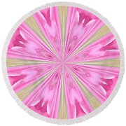 Flower Kaleidoscope Round Beach Towel