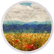 Flower - Landscape - Fragrant Valley Round Beach Towel by Mike Savad