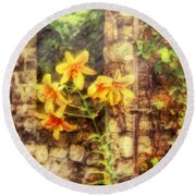 Flower - Lily - Yellow Lily  Round Beach Towel by Mike Savad