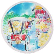 Flower Market  In Chiang Mai Round Beach Towel