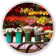 Flower Market With Bike Round Beach Towel