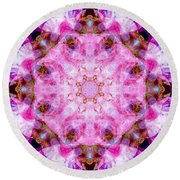 Flower Of Life Lily Mandala Round Beach Towel