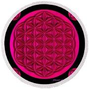 Flower Of Life - Pink Round Beach Towel