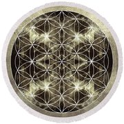 Flower Of Life Silver Round Beach Towel by Filippo B
