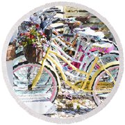 Flower On A Bicycle 2 Round Beach Towel