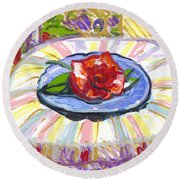 Flower On Chair Round Beach Towel