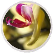 Flower-orchid-yellow Round Beach Towel
