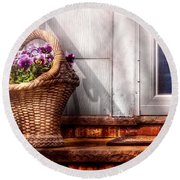 Flower - Pansy - Basket Of Flowers Round Beach Towel by Mike Savad