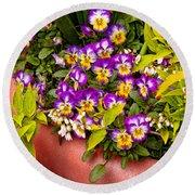 Flower - Pansy - Purple Posies  Round Beach Towel by Mike Savad