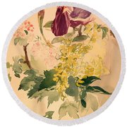 Flower Piece With Iris Laburnum And Geranium Round Beach Towel