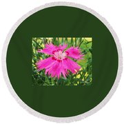 Flower Pink Round Beach Towel