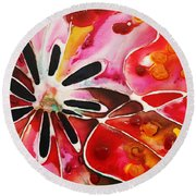 Flower Power - Abstract Floral By Sharon Cummings Round Beach Towel