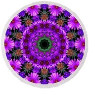 Flower Power Round Beach Towel by Kristie  Bonnewell